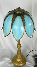 "Antique VICTORIAN 25"" Cast Iron TABLE LAMP w Blue Slag Glass Shade w 8 panels"