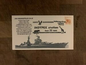 USA 1988 NAVY COVER USCS PORTLAND CRUISER USS INDIANAPOLIS CA-35 INDYPEX SHOW