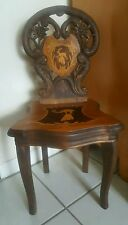 Antique Child Musical Chair Made in Switzerland Carved Walnut Wood 1880's-1920's