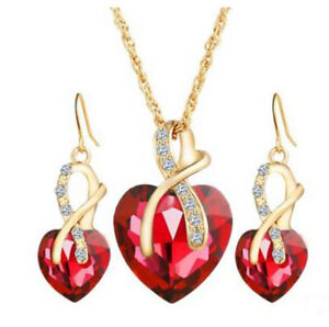 Crystal Heart Pendant Chain Necklace And Earring Sets Fashion Jewelry Set Womens