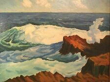 NYC 1950s Modernist Expressionist Seascape Ocean Oil Painting Signed