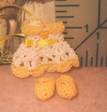 Miniature Crochet Dress for Dollhouse Baby Handmade with booties