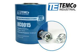 "TEMCo HC0015 - Hydraulic Cylinder Ram Single Acting 50 TON 2"" Inch Stroke"