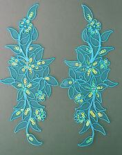 Venise Lace Sequins & beaded Applique Trim Motif Colour Turquoise #7