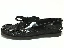 SPERRY TOPSIDER  Boat Shoes Black SPARKLE Velvet Laces Loafers US 6.5 EU 37 $105
