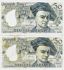 50 Francs Quentin de la Tour .lot de é x billets :1998 ET 1992 .L.51 ET S.72 .