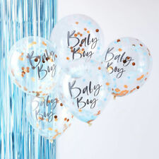 "12"" Baby Boy Blue Confetti Balloons Helium Oh Baby Shower Party Decorations x 5"