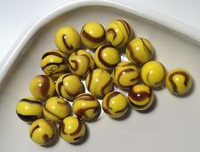 Glass Mega Marbles * BUMBLE BEE* 20 Players 16mm YELLOW BASE SWIRLED BLACK New
