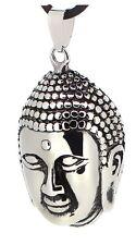 budawi® - Buddha Kopf Anhänger 40 x 26 cm, Buddhistische Amulette aus Edelstahl
