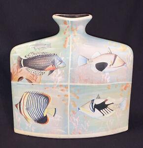 Vintage Painted Decoupage Flat Ceramic Tropical Fish Vase Home Decor Art Jug