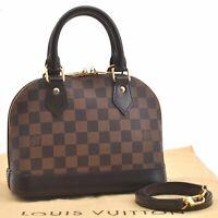 Authentic Louis Vuitton Damier Alma BB Shoulder Hand Bag N41221 LV A0295