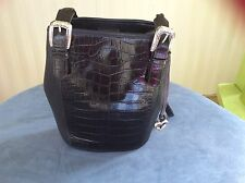 BRIGHTON Crocodile Leather Shoulder Handbag Purse Black Vintage No. 993248