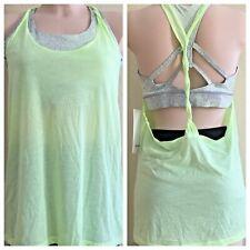 Lululemon Twist N Toil Tank Women Sz 12 Sport Bra N Top 2 in 1 Lime Mint Gray