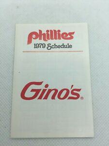 1979 Philadelphia Phillies Baseball Schedule Gino's Pizza