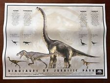 """LOT OF 2 Dinosaurs of Jurassic Park 1993 Promotional 18"""" x 24"""" Litho Prints NOS"""