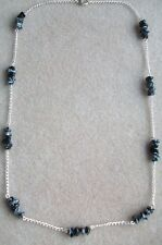 Snowflake Obsidian Nuggets Gemstones and Silver Plated Chain Necklace