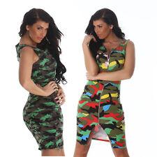 abito donna vestito militare camouflage zip spacco cotone smanicato midi nuovo #