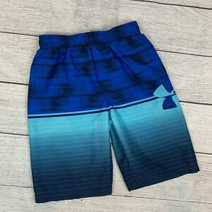 Under Armour Large Swim Trunks Boy's Youth YLG Blue Striped Elastic Waist Liner