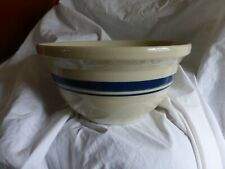 Vintage Roseville Mixing Bowl Off White with Blue Stripe Oven Proof