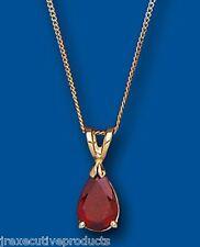 Garnet Pendant Garnet Necklace Garnet Pear Yellow Gold Garnet Pendant