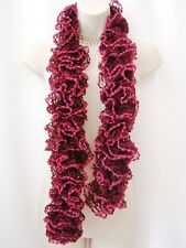 Scarf Shawl Stole Wrap Ruffle Boa Pom Pom Burgundy Pink RP2 Can Can Charleston