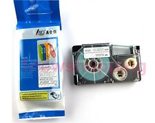 Great quality Compatible for Casio Tape 9mm White on Clear Label  XR-9AX1
