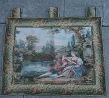 pastoral  FRANCE  ITALY Tapestry Victorian courting SCENE fountain colorful