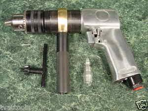 "1/2"" Reversible AIR DRILL Tool w Chuck & Key Pistol Grip w/ Side Handle LAST ONE"