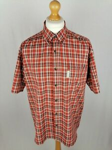 Mens Columbia Short Sleeve Button Down Shirt Size XL Slim Fit Red Check Cotton