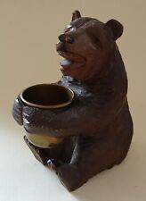 Black Forest carved oak wood bear vintage Victorian antique match holder