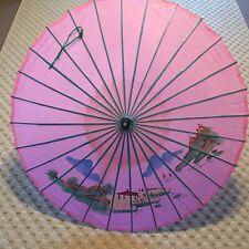 "Vintage Asian Japanese Parasol Umbrella Hand Painted 35"" W"