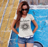 ALICE IN CHAINS Women White V-Neck T-shirt Metal Band Tee Shirt NIRVANA