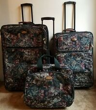 Ricardo Beverly Hills 3Pc Matching Floral Upholstered Luggage Set All On Wheels