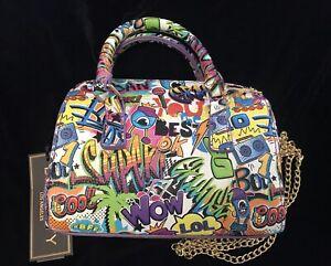 """Multi Graffiti Effect Print Mini Dome Satchel Crossbody Bag 5""""H  x 7""""W x 3""""D NWT"""