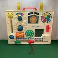 Vtg 1960-70's Fisher Price Activity Center Baby Attach To Crib Busy Box Toy