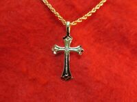 """14 KT GOLD EP  CROSS ABOUT 1 1/4"""" CHARM PENDANT WITH AN 18"""" ROPE CHAIN -2057"""