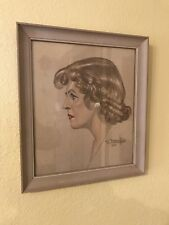 "Framed 1950 Original Colored Pencil Portrait Signed 14""x 16"" Mid Century Woman"