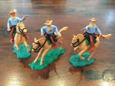 Timpo 2nd Series Mounted Cowboys x 3 -  Sheriff + Posse in Light Blue - 1960's