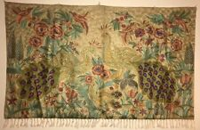 Silk-blend Handmade Kashmir Embroidered Tapestry wall hanging/ rug Peacock Olive