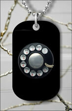 ROTARY DIAL VINTAGE PHONE DOG TAG PENDANT NECKLACE FREE CHAIN -grt5Z