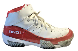AND 1 Youth High Top Basketball Shoes Size 5 Shiny Red White Lace Up Top Strap
