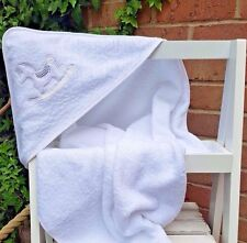 Baby boy or girl 100% terry cotton Rocking Horse hooded bath towel by Soft Touch