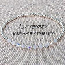 STERLING SILVER STRETCH BEADED STACKING BRACELET WITH SWAROVSKI CRYSTALS