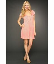 NWT- Free People Hot Pink & Ivory Hot Off the Press Knit Short Sleeve Dress- M