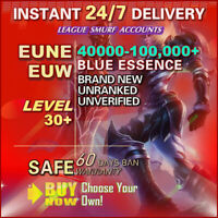 EUW EUNE League of Legends Account LOL Smurf 40K 50K 60K BE IP Level 30 Unranked
