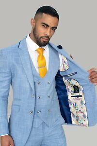 Mens Cavani Premium Light Blue Check Wedding Lined Tailored Fit 3 Piece Suit NEW