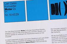 Prospekt: ZEISS Mutar 2x T Konverter (Hasselblad)