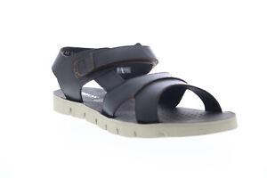 Geox U Glenn E Mens Black Leather Strap Sport Sandals Shoes