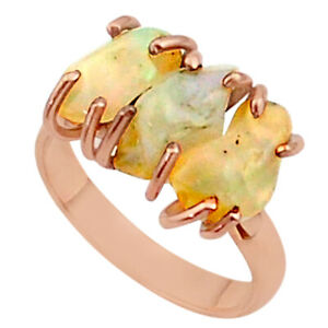 Bargain Sale 9.80cts 3 Stone Ethiopian Opal Raw 14k Rose Gold Ring Size 8 T38035