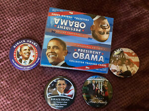President OBAMA Sealed 24 Pack Trading Card Box + 4 Buttons